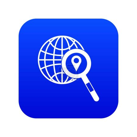 Photo for Globe, map pointer and magnifying glass icon digital blue for any design isolated on white vector illustration - Royalty Free Image