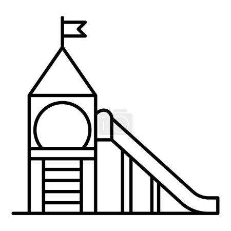 Illustration pour Icône du terrain de jeu. Décrivez l'icône vectorielle du terrain de jeu de la tour pour la conception Web isolée sur fond blanc - image libre de droit