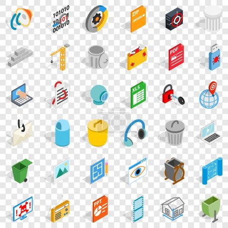 Photo for Computer icons set. Isometric style of 36 computer vector icons for web for any design - Royalty Free Image