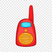 Red portable handheld radio icon cartoon style