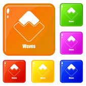 Waves icons set vector color
