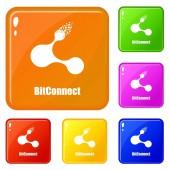 Bitconnect icons set vector color