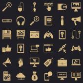 Web diagram icons set simple style