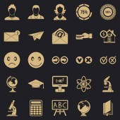 Erudite icons set simple style