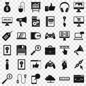 Web game icons set simple style