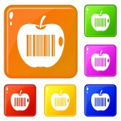 Code to represent product identification icons set vector color