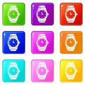 Wristwatch icons set 9 color collection