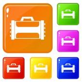 Welding machine icons set vector color