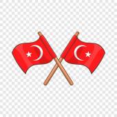 Turkey crossed flags icon cartoon style