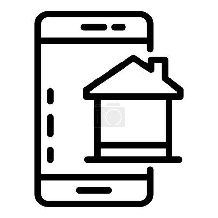 Smartphone home control icon. Outline smartphone h...