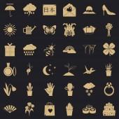 Photo icons set simle style