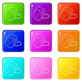 Dental floss icons set 9 color collection