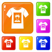 White shirt with print of man portrait icons set vector color