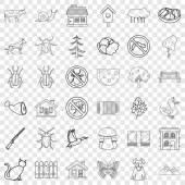 Mushroom icons set outline style