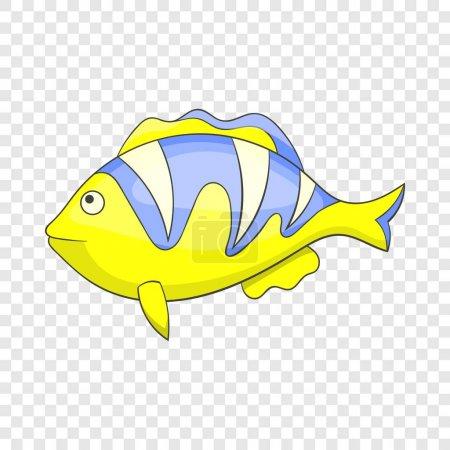 Icono de pez pelado tropical amarillo, estilo de dibujos animados