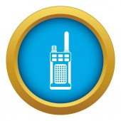 Portable handheld radio icon blue vector isolated