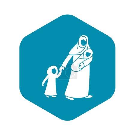 Ilustración de Icono de niños de refugiados la madre. Ilustración simple de refugiados madre niños vector icono de diseño aislado sobre fondo blanco - Imagen libre de derechos
