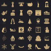 Folklore festival icons set simple style