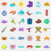 Fishing icons set cartoon style