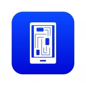 Phone innards icon digital blue