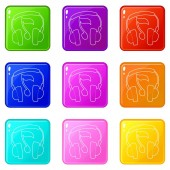 Earphones icons set 9 color collection