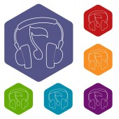 Earphones icons vector hexahedron