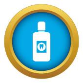 Bottle of mouthwash icon blue vector isolated