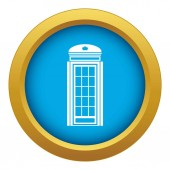 Phone booth icon blue vector isolated