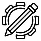 Pencil gear system icon outline style