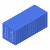 Port cargo container icon isometric style