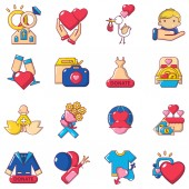Love time icons set cartoon style