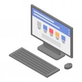 Lab pc desktop icon isometric style
