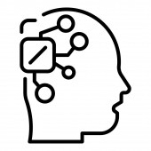 Microchip in the head icon outline style