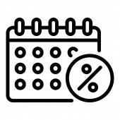 Calendar lease payment date icon outline style