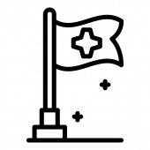 Medical flag icon outline style
