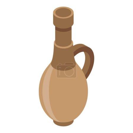 Wood wine bottle icon. Isometric of wood wine bott...