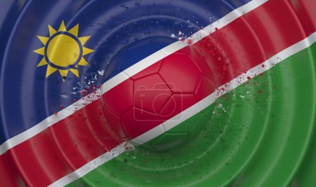Photo for Namibia, soccer ball on a wavy background, complementing the composition in the form of a flag, 3d illustration - Royalty Free Image