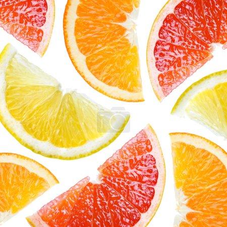 Citrus. Fruit background. Orange, lemon, grapefruit, slices isol