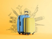 travel theme background with colorful luggage