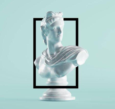 Photo pour Statue renaissance en cadre noir sur fond bleu - image libre de droit