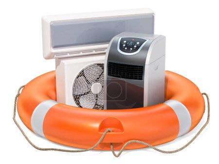 Réparation et service de climatiseurs, concept. rendu 3D isolé sur backgroun blanc