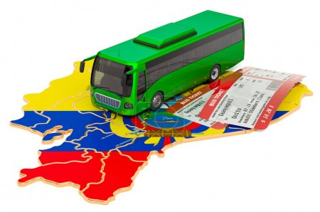 Photo for Bus travel in Ecuador, concept. 3D rendering isolated on white background - Royalty Free Image