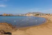 Tourists and visitors enjoying the beautiful Spanish sunshine on Cabezo de Gilivan beach in Puerto de Mazarron, Spain on Sunday 30th September 2018