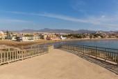View from Cabezo de Gavilan mirador to Playa de la Reya beach and bay Puerto de Mazarron Spain