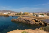 Playa la Pava beach and bay Puerto de Mazarron Spain one of many beautiful beaches in this Spanish coast town by the Mediterranean Sea