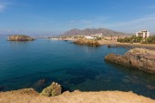 Beautiful Puerto de mazarron coast view to Playa la Pava beach and bay, one of many beautiful beaches in this Spanish coast town by the Mediterranean Sea