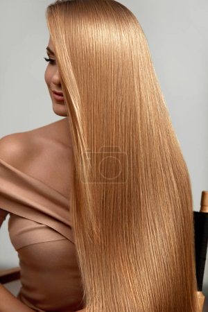 Photo for Long Blonde Hair. Beautiful Woman With Healthy Straight Hair. Girl With Natural Glossy Blond Hair. High Resolution - Royalty Free Image