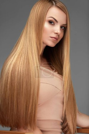 Photo for Hair Beauty. Beautiful Woman With Healthy Long Straight Hair And Natural Face Makeup. High Resolution - Royalty Free Image