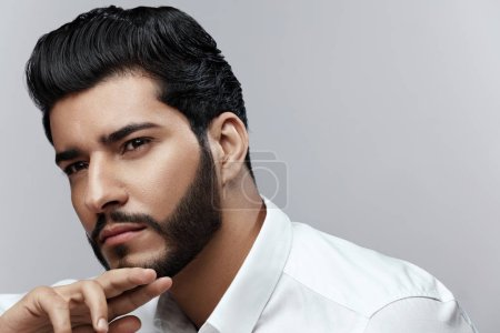 Photo for Beauty. Man With Hair Style And Beard Portrait. Handsome Male Model With Fashion Haircut And Beautiful Face. High Resolution - Royalty Free Image