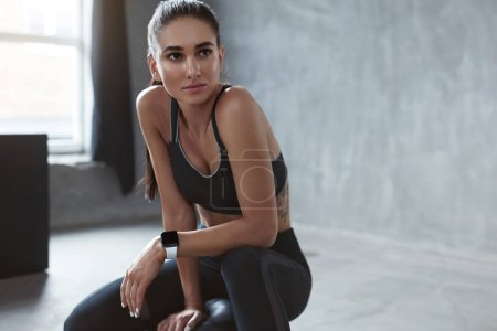 Photo for Portrait Of Fitness Woman In Fashion Sports Clothes, Beautiful Female In Black Sportswear. High Resolution - Royalty Free Image